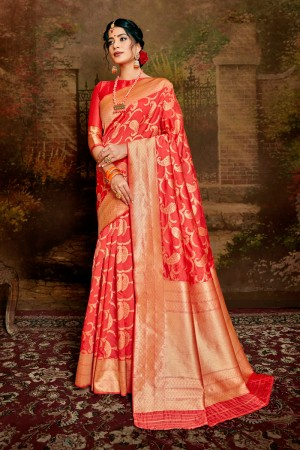 Dark Peach Soft Silk Saree with Blouse
