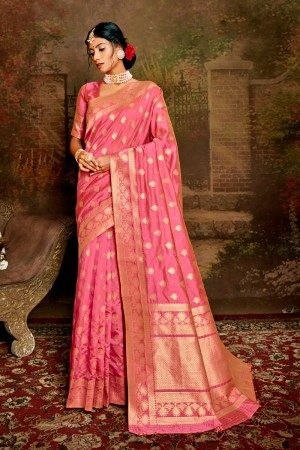 Pink Soft Silk Saree with Blouse