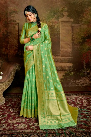 Pista Soft Silk Saree with Blouse