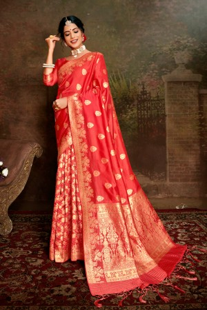 Peach Soft Silk Saree with Blouse