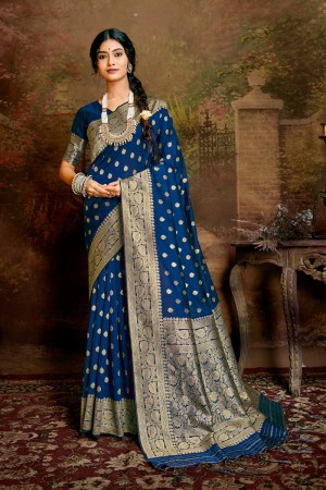Blue Soft Silk Saree with Blouse