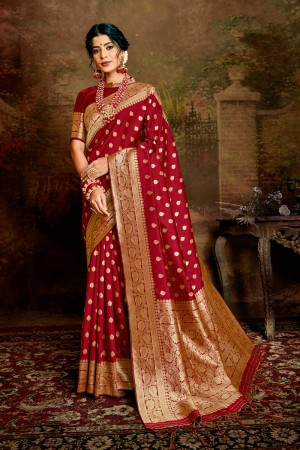 Maroon Soft Silk Saree with Blouse