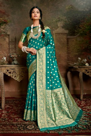 Firozi Soft Silk Saree with Blouse