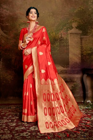 Red Soft Silk Saree with Blouse