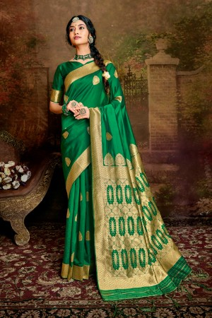 Green Soft Silk Saree with Blouse