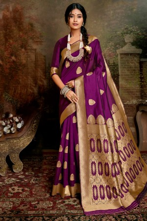 Purple Soft Silk Saree with Blouse