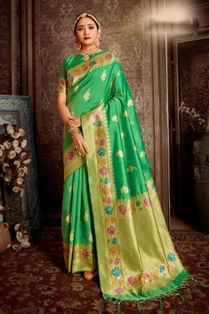 Pista Soft Silk Saree with Blouse
