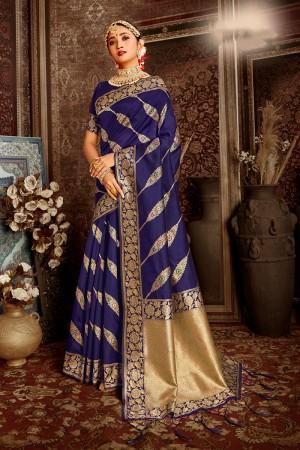 Blue Soft Silk Saree with Blouse