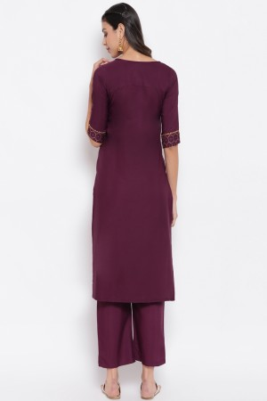 Wine Poly Crepe Top with Bottom
