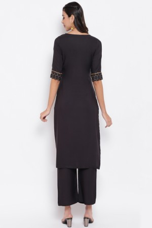 Black Poly Crepe Top with Bottom