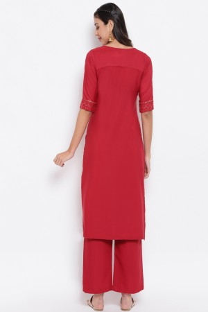 Red Poly Crepe Top with Bottom