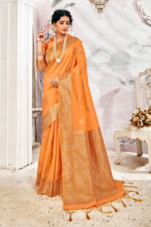 Light Orange Soft Silk Saree with Blouse