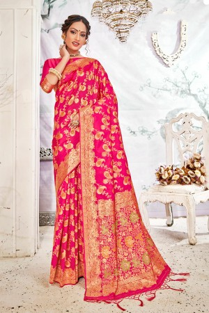 Rani Pink Soft Silk Saree with Blouse