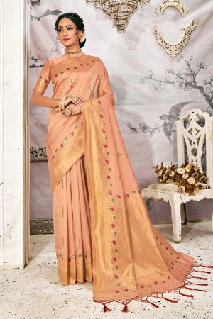 Light Peach Soft Silk Saree with Blouse
