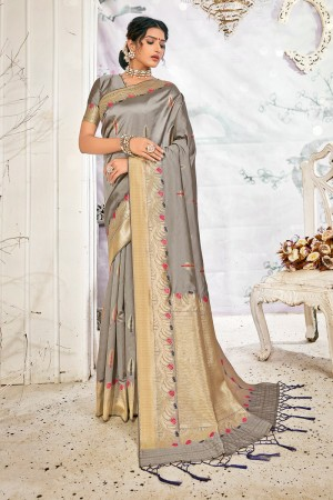 Grey Soft Silk Saree with Blouse