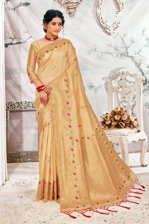 Cream Soft Silk Saree with Blouse