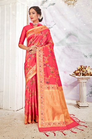 Tometo Red Soft Silk Saree with Blouse