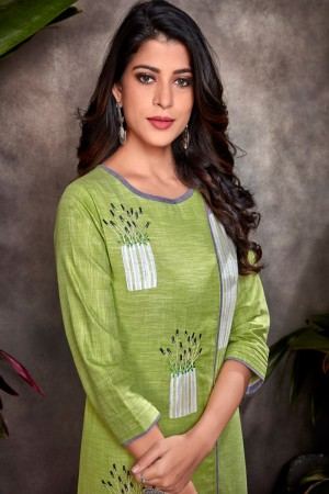 Parrot Green Heavy South Cotton Top with Bottom