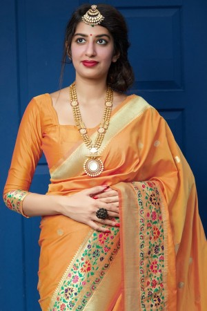 Light Orange Banarasi Silk Saree with Blouse