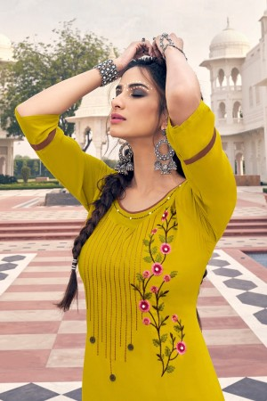 Mustard Heavy Rayon Top with Bottom