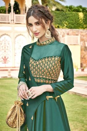 Green Soft Taffeta Silk Gown