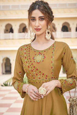 Mustard Soft Taffeta Silk Gown