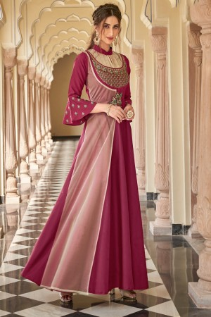 Magenta & Peach Soft Taffeta Silk Gown