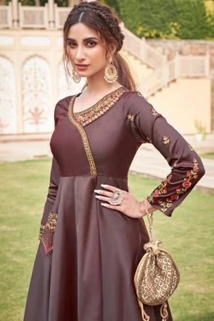 Brown Soft Taffeta Silk Gown