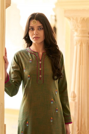 Mehendi Two Tone Silk Top with Bottom