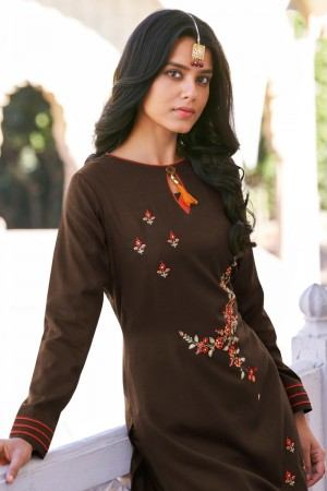 Brown Two Tone Silk Top with Bottom