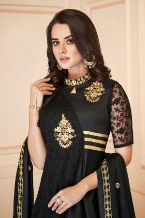 Black Heavy Soft Silk Salwar Kameez