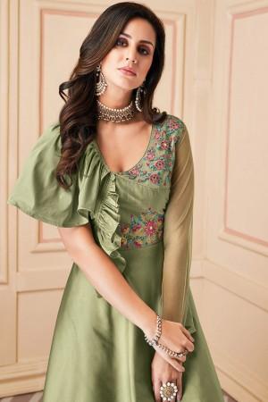 Light Green Heavy Soft Silk Salwar Kameez