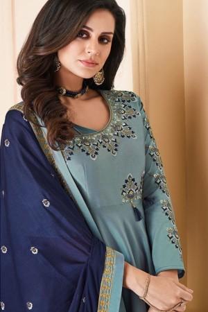 Light Teal Heavy Soft Silk Salwar Kameez
