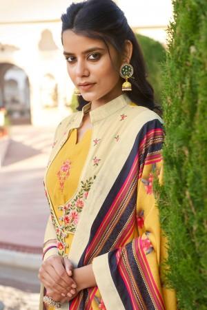 Yellow Heavy Muslin Silk Salwar Kameez