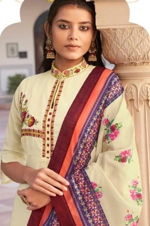 Cream Heavy Muslin Silk Salwar Kameez