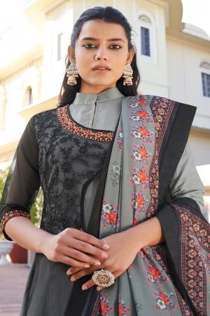 Grey & Black Heavy Muslin Silk Salwar Kameez