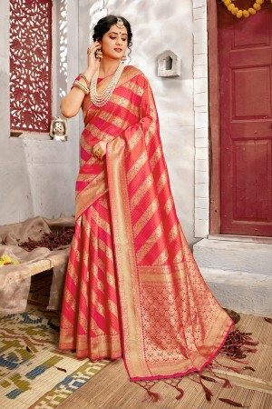 Red Banarasi Silk Saree with Blouse