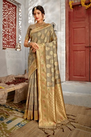 Beige Banarasi Silk Saree with Blouse