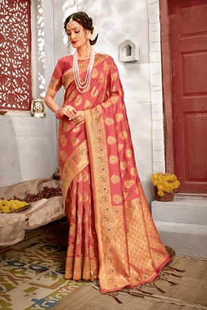Gajari Banarasi Silk Saree with Blouse