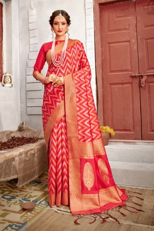 Dark Peach Banarasi Silk Saree with Blouse