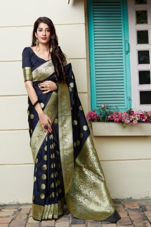 Navy Blue Banarasi Silk Saree with Blouse