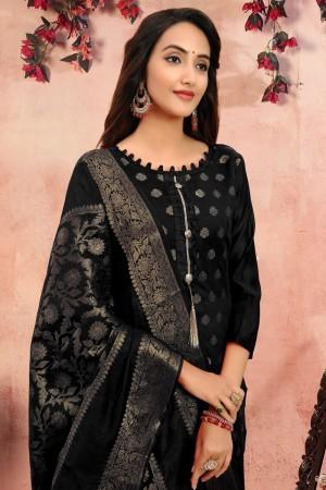 Black Banarasi Jacquard Dress Material