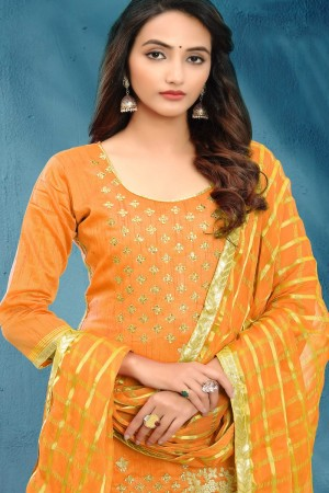 Yellow Cotton Silk Dress Material