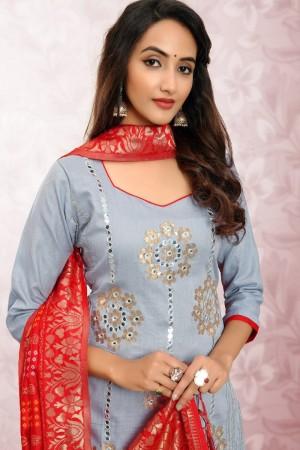 Light Grey Glass Cotton Dress Material