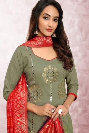 Mehendi Glass Cotton Dress Material