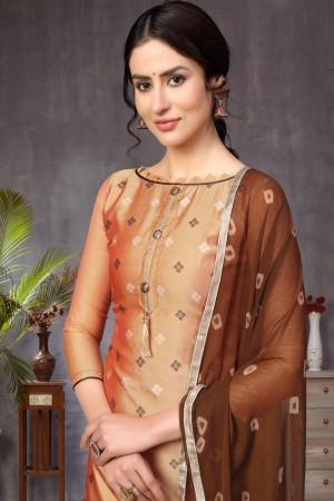 Peach Banarasi Jacquard Dress Material