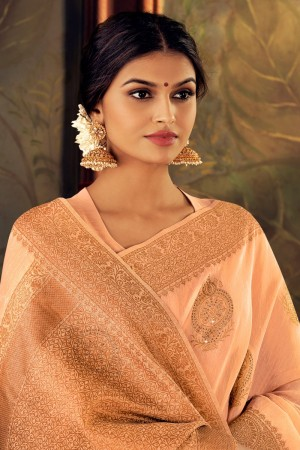 Light Peach Silk Saree with Blouse