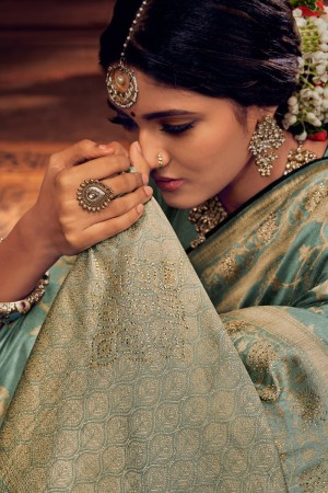 Light Turquoise Silk Saree with Blouse