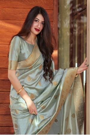 Light Turquoise Banarasi Silk Saree with Blouse