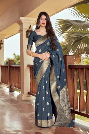 Slate Grey Banarasi Silk Saree with Blouse